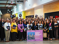 the 150 attendees of EWDD Financial Management Division's Financial Grants Management Training pose outside of the Southern California Goodwill office Community Room