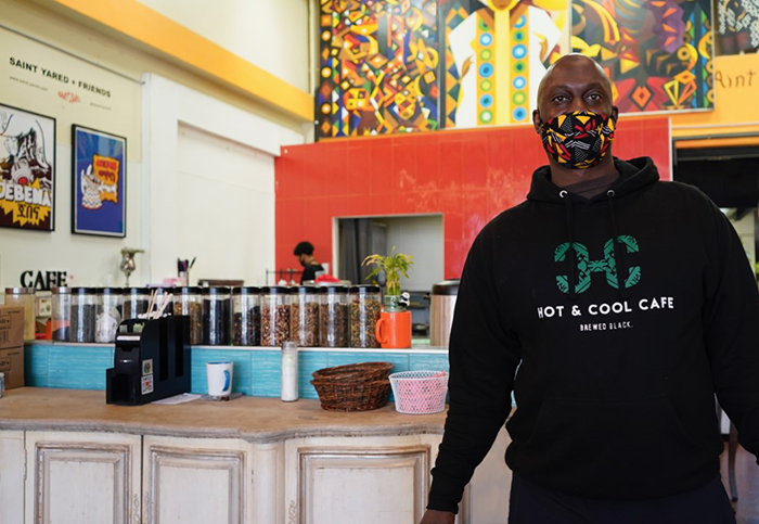 Anthony Jolly inside his Leimert Park business, Hot and Cool Café