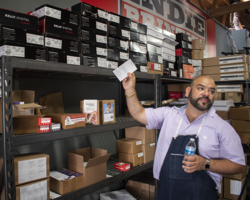 Andy Rosillo, owner of Indie Printing, is a long-term BusinessSource client who has undergone three loan cycles through the Hollywood BusinessSource Center