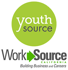 YouthSource logo (bright green circle with words Youth and Source in center) and WorkSource logo (words WorkSource California Building Business and Careers