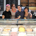 Uli Nasibova (second from right), owner of Gelateria Uli