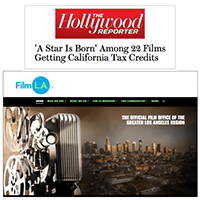 Hollywood Reporter Magazine article headline and Film L.A. home page screen grab