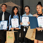 "HIRE LA'S Youth interns from the DPW Bureau of Sanitation's 2018 ""Summer Introduction to Engineering and Science"" program display completion certificates at the closing ceremony July 27, 2018"