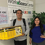 LATTC WSC Career Counselor Jessica Fuentes helped find the funds for the tools so Ricardo Estrada could keep his job