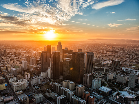 aerial image of Los Angeles at Sunset