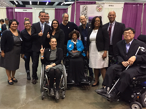 Mayor Garcetti Kicks Off Career Fair at Los Angeles Abilities Expo with Paralympian Candice Cable, Maxine Waters, Jan Perry, Charles Woo and other event organizers