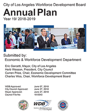 Year 19 Annual Plan for Program Year 2018-2019 report cover page featuring LA Mayor Eric Garcetti