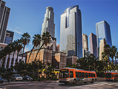 Downtown LA Financial District featuring metro buses, photo by Olenka Kotyk on Unsplash.com