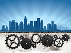 clipart of blue Los Angeles skyline with a system of gears underneath