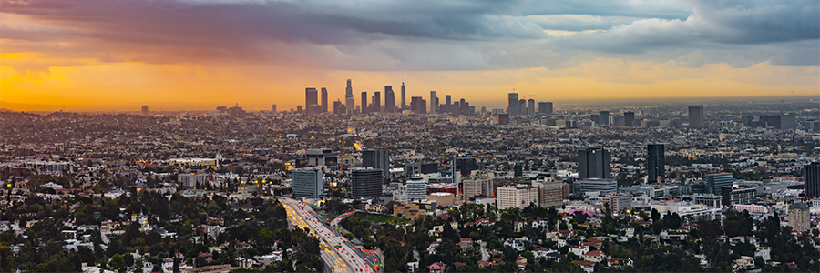 aerial photograph of the Los Angeles basin at sunset