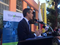 LA Mayor Eric Garcetti in November 2014 speaking about the WorkSource Network